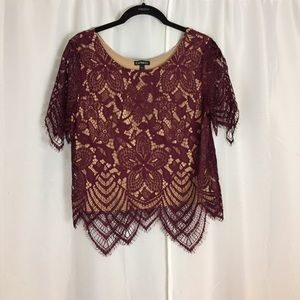 Express burgundy nude lace romantic blouse S